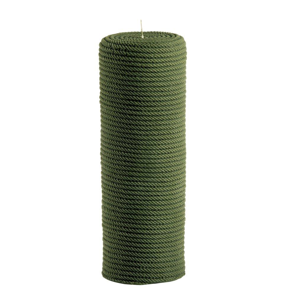 Kerze mit Kordelstruktur, grün, L 1