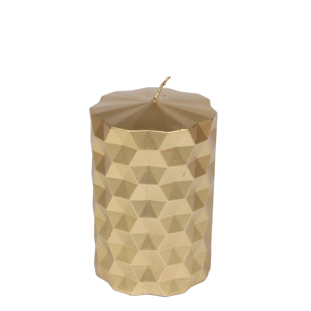 Moderne Kerze mit geometrischem Muster, S, gold 1