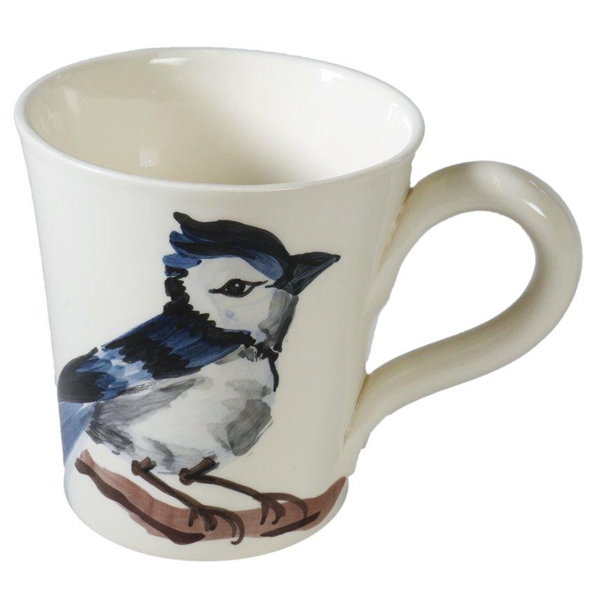 """Große Tasse aus Italien, handbemalt, """"Blauer Vogel"""" von Virginia Casa 1"""